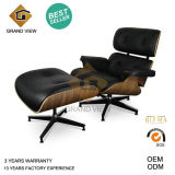 Black Leather Dark Walnut Wood Classical Eames Lounge Chair (GV-EA670)