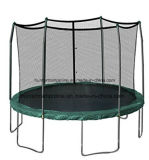 12FT Green Ground Trampoline with 6 Legs and Safety Enclosure Net