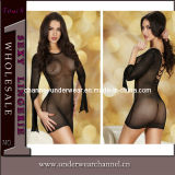 Black Transparent Ladies Lingerie Mini Chemise Dress (21562)