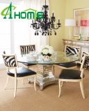 Modern Silver with Clear Glass Round Dining Table