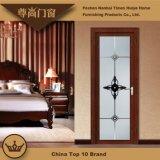 Engraved Glass Panel Aluminum Casement Swing Door for House Living Room Decoration