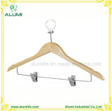 Hotel Anti-Theft Wooden Clothes Hanger with Two Clips