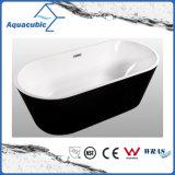 Bathroom Black Color Pure Acrylic Seamless Freestanding Bathtub (AB6700B)