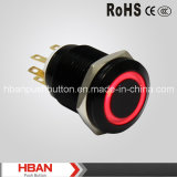 Hban (19mm) Black Body Ring-Illuminated Momentary Latching Pushbutton Switch