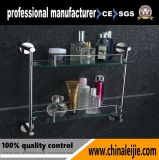 Wall Mounted Elegant Double Layer Glass Shelf Bathroom Accessory for Hotel