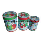 Hot Round Tin Box Set, Round Gift Tin Box Set of 3, Round Christmas Tin Set (XJ-013Y)
