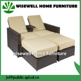 Wicker Patio Garden Furniture Double Bed Chaise Lounge (WXH-024)