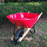 Metal Tray Wood Handle Wheelbarrow