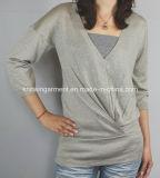 Women Fashion Sales V Neck Long Sleeve Sweater Clothing (12AW-318)