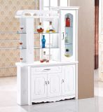 Modern White Wooden Wine Display Cabinet with Wine Rack