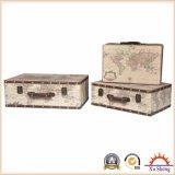 Set of 3 Vintage Beige World Map Print Suitcase Jewelry Box