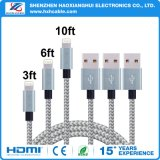 1m Grey with Silver Nylon Braided for iPhone 6 Cable
