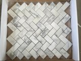 Hot Snow White Polished Herringbone Marble Wall Mosaic Tiles