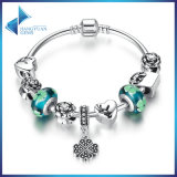 Antique Heart Pendant & Green Flower Beads Love Bracelets & Bangles for Women Jewelry