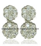 925 Fashion Sterling Silver Zircon Flower Shape Dangle Earrings