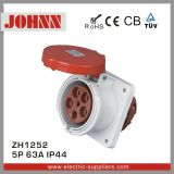 IP44 5p 63A Straight Panel Mounted Socket for Industrial
