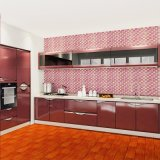 Modern Stylish Red High Glossy Lacquer Plywood Kitchen Cabinets