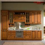 Modern Painting Solid Teak Wooden Kitchen Cabinet (GSP5-046)