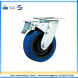 Heavy Duty Fix Wheel Double Ball Bearing Elastic Rubber Caster with Brake