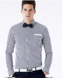 Men′s Navy Strip Slim Fit Cotton Shirt