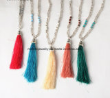 Hot Sale Fashion Accessories Tassel Pendant Beads Necklace for Girls 5colors
