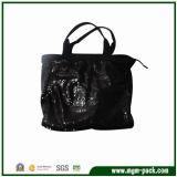 Luxury Black Canvas Handbag with Beautiful Sequins