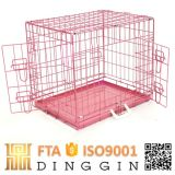 Pink Wire Mesh Dog Cage