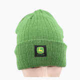 Green Kintted Winter Cap with Woven Label (GK0401-S1003)