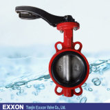 Wafer Type Rubber Lined Iron Body Handle /Worm Gear Butterfly Valve (D71X)