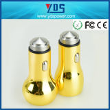 Colorful Yellow Metal Double USB Car Charger 2.4A