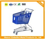 Supermarket Plastic Shopping Trolley/Carts with Zinc Plated Handle