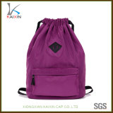 Custom Cheap Travel Bagpack Sports Drawstring Bag with Leather Patch