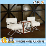 Square White Fur Middle East Aluminium Living Room Chair