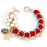 VAGULA Handmade Leather Knitting Charms Fashion Bracelet