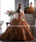 Sweetheart Embroidery Organza Quinceanera Dress Fashion Vestidos Maroon Prom Ball Gowns Ld11521