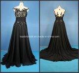 Applique Ladies Party Dresses Black A-Line Prom Fashion Evening Gowns Z5018