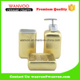 Fashionable 3 PCS Gold and Spray Glazed Ceramic Bathroom Set
