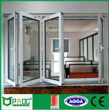 Aluminum Profile Folding Window with Large Tempered Glass Window
