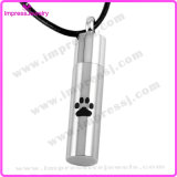 Ijd8168 Popular Style Cylinder Ashes Keepsake Memorial Locket Paw Engraved Stainless Steel Cremation Pendant Necklace