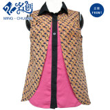 Colorful Short-Sleeve Turn-Down Collar Button Combination Fashion Blouse
