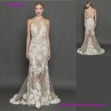 High Quality Elegant Grey Lace Transparent Open Back Wedding Dresses