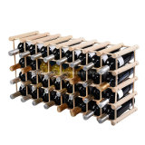 Pine Wood 40 Bottles Storage Display Wine Rack