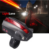 Rechargeable or Operated by AAA Battery 5 LED 2 Laser Project Logo Rear Bike Tail Light