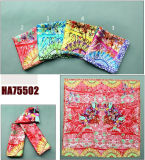 Lady Fashion Printed Square Silk Shawl (HA75502)