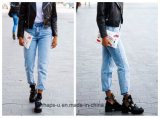 Women′s High Waist Loose Straight Denim Trousers with Large Yards