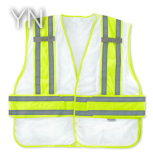 White Reflective Safety Vest with High Visibility Tape