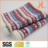 100% Acrylic & Lambwool Jacquarded Knitted Neck Scarf with Metallic Yarn