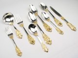 Royal Flatware Sterling Silver Gold Plated Cutlery Dinner Set