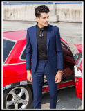 Fashion Stylish Slim Fit 100% Wool Besom Pocket Navy Blue Men Suit