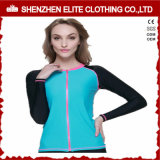 Polyester Lycra Long Sleeve Anti UV Rash Guard Zip